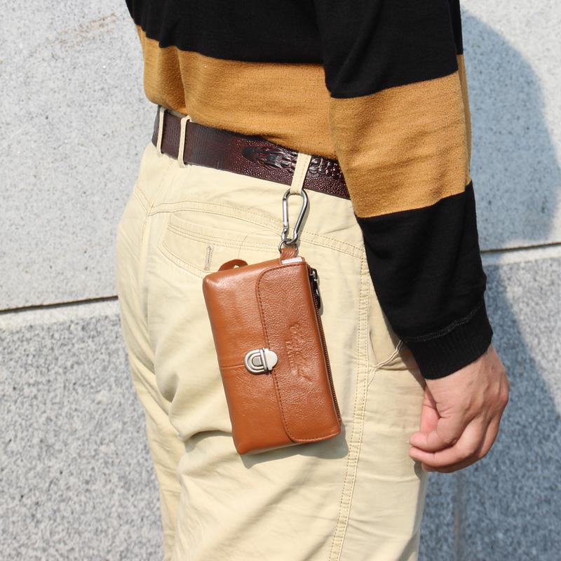 横款超薄男穿皮带腰包手机包真皮 搭扣式多功能手机腰包5.0英寸