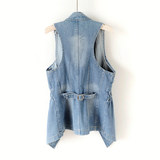 2020 spring and autumn new Korean version of the slim slim long mid-length denim waistcoat women sleeveless vest vest waistcoat