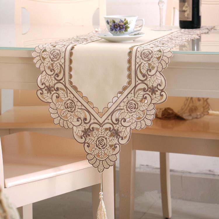 蕾絲電視櫃餐桌桌旗歐式繡花茶几桌旗現代簡約時尚中式床旗床尾巾