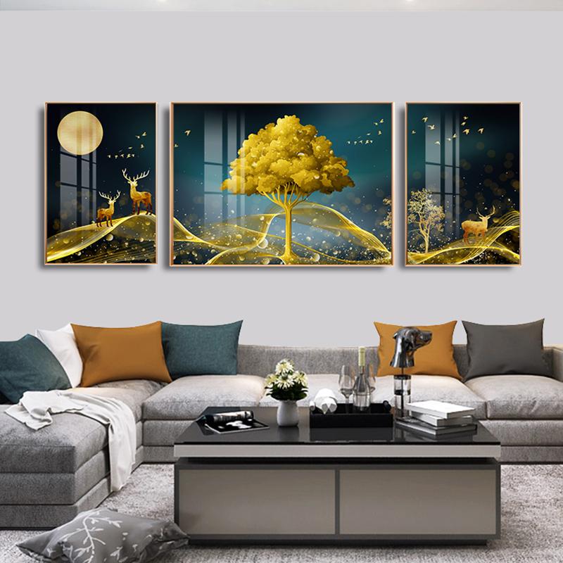 现代简约客厅沙发背景墙新中式装饰画壁画山水画挂画晶瓷画墙画 No.1