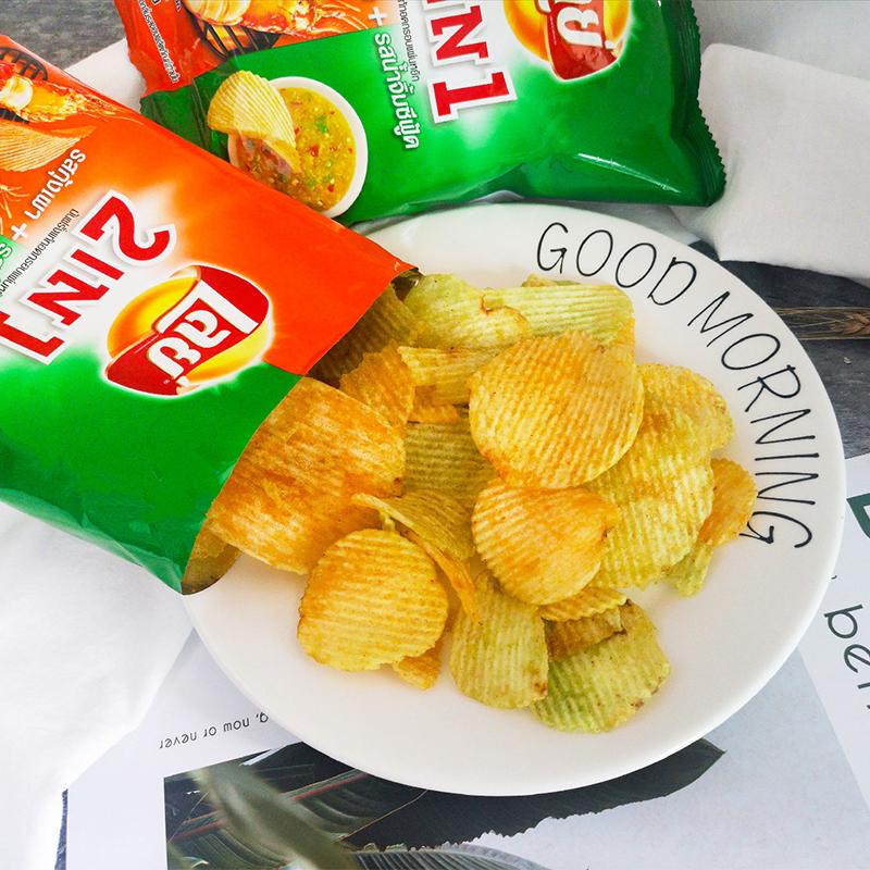 鱿鱼洋葱味 48g 乐事二合一泰式烤龙虾海鲜酱味薯片 Lays 必买 711 泰国
