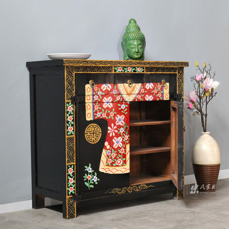 宋氏出口中式仿古做旧实木家具玄关柜手绘衣服柜储物柜餐边柜鞋柜