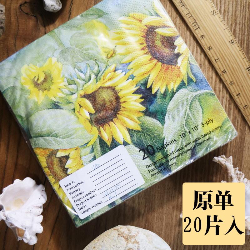 NC207創意印花紙巾滿版彩色花卉卡通餐巾紙小包手帕紙向日葵25