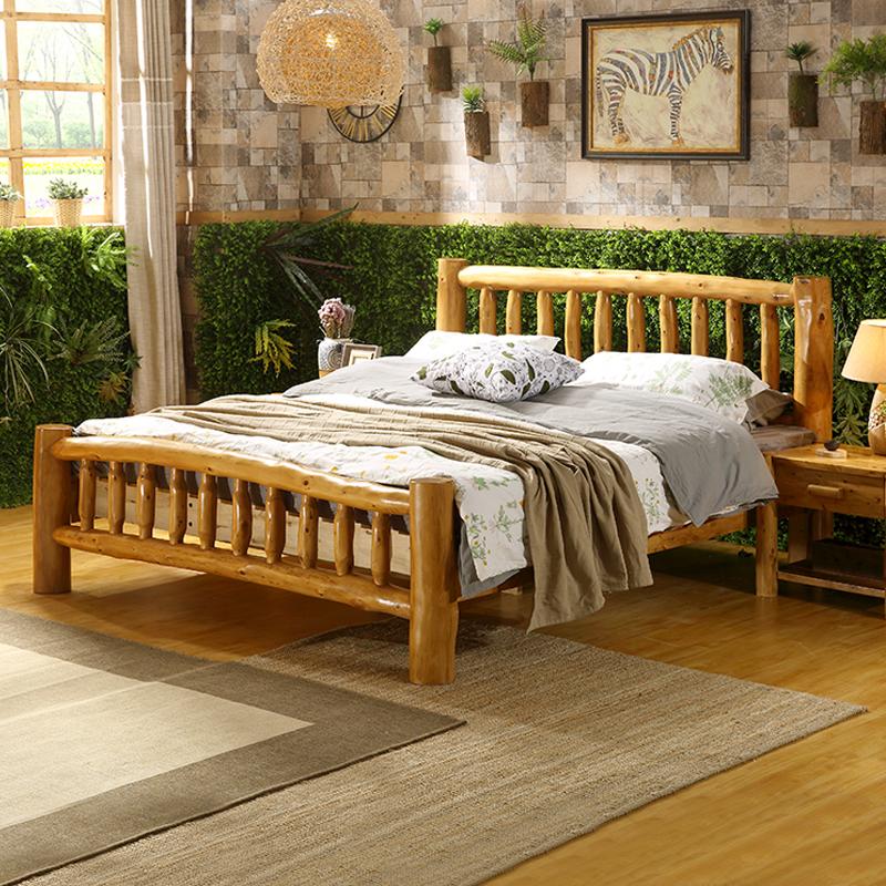 原木雙人床純柏木1.8米5簡約現代中式硬板床全實木床民宿客棧傢俱