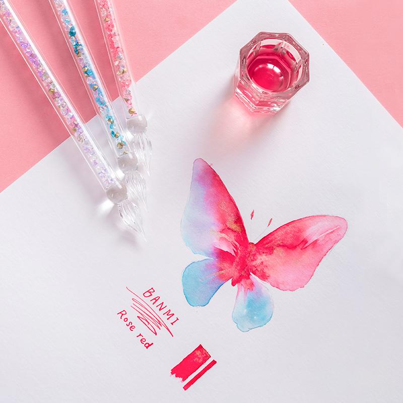 【治俞精灵】4色玻璃笔水晶星空蘸水笔彩墨网红钢笔礼品盒大套装