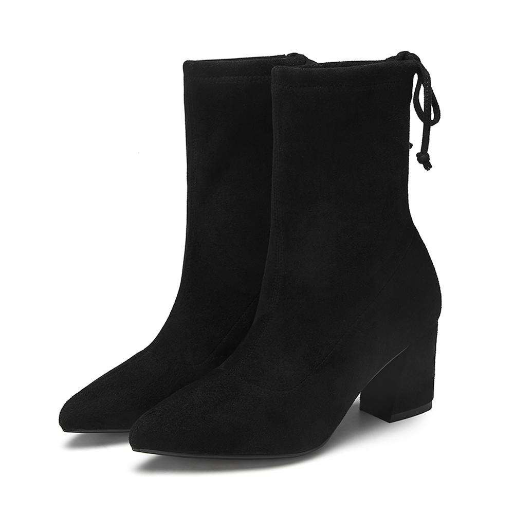 WCZ01DZ9 他她冬专柜同款布面尖头瘦瘦靴粗高跟女中靴 Tata