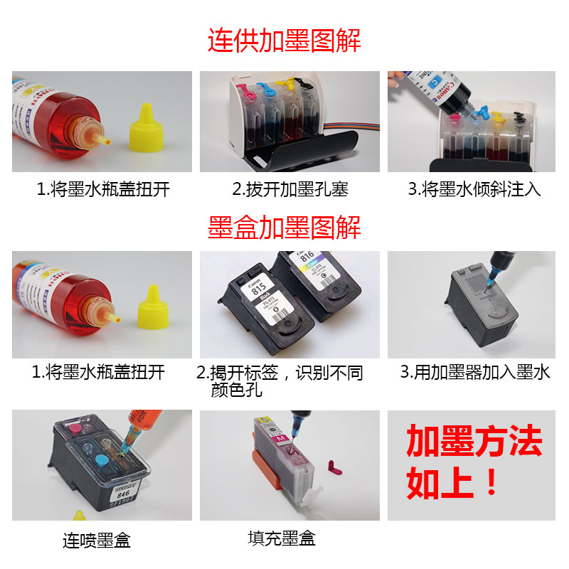 佳能彩色喷墨打印机墨水mp288 mg3680 2400 2580S连供815 TS3180