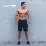 Alpharmy quick-drying sports shorts men's fitness loose zipper pocket running breathable thin section five pants
