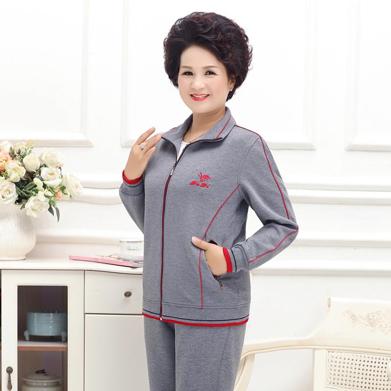 妈妈运动服套装新款卫衣外套中老年女装上衣春秋装宽松大码两件套