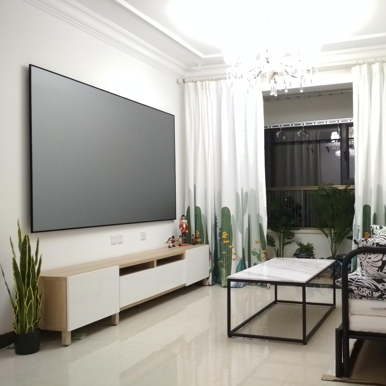 VISUALFIRM窄边框抗光投影幕布画框幕高清4K黑钻布框架银幕壁挂式