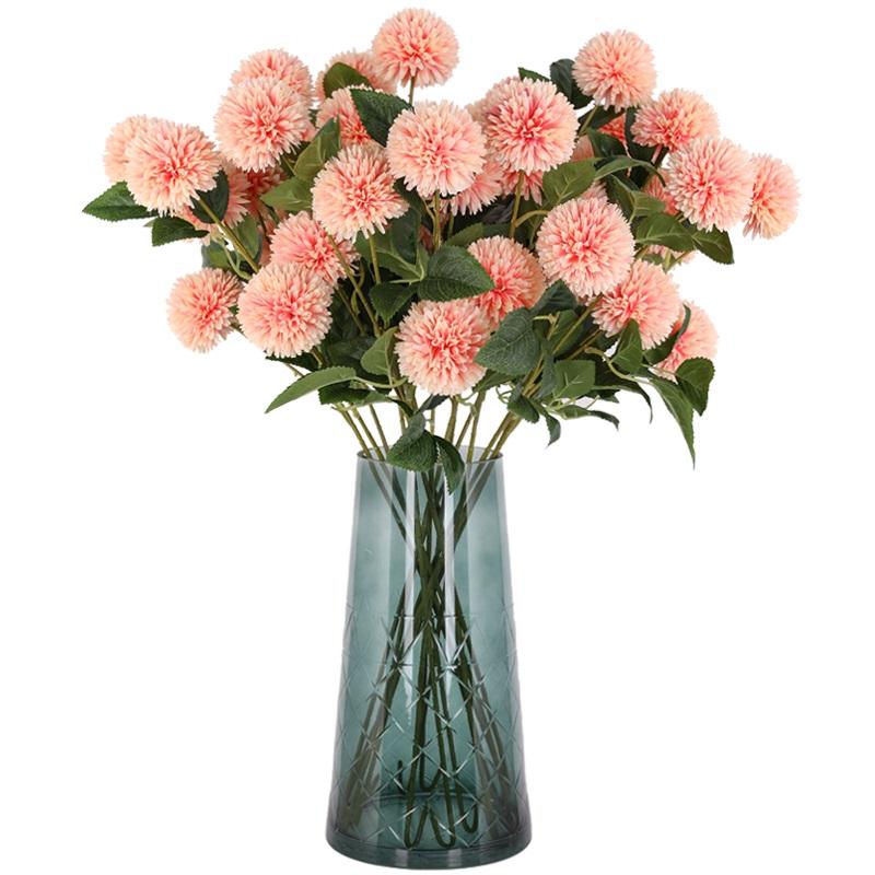 仿真繡球花蒲公英玫瑰花束客廳落地裝飾干花假花絹花插花擺件花瓶