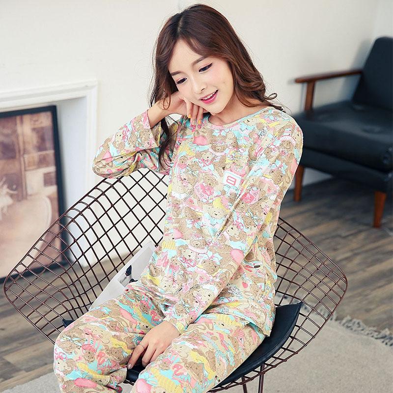 春秋季空调睡衣女长袖大人超薄款套装纯棉韩版全棉夏季长裤家居服