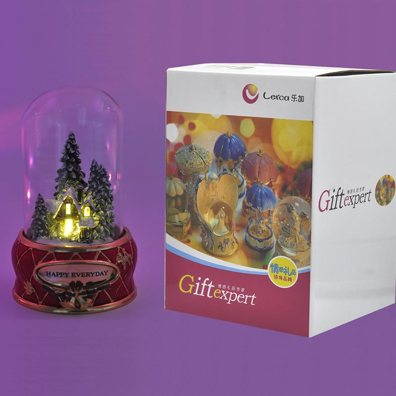 圣诞雪屋发光旋转水晶球创意生日礼品八音盒音乐盒女生情人节礼物