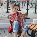 Autumn new 2019 women's lazy wind suit net red goddess stripes fashion denim suit two sets of foreign gas