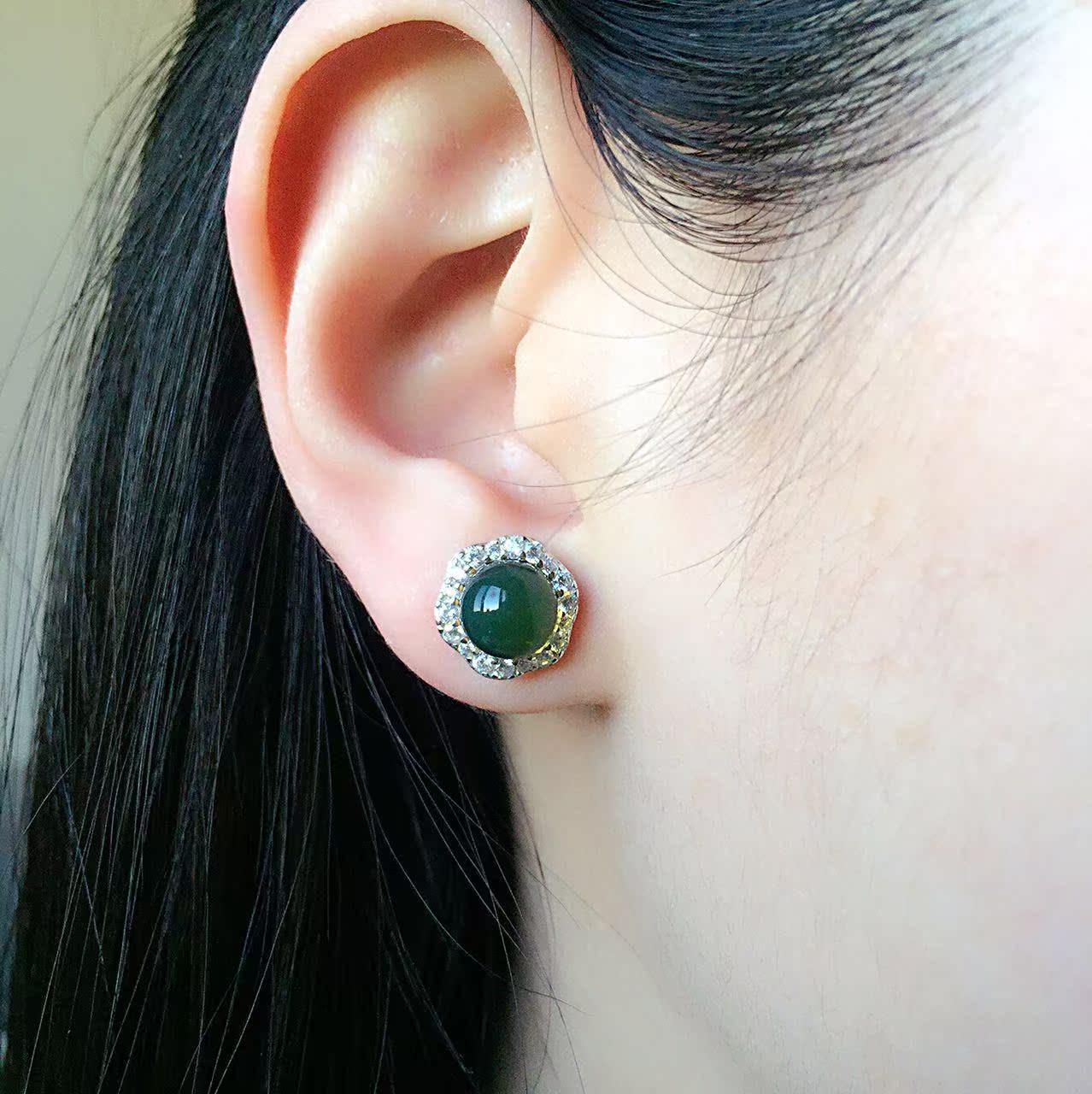纯银耳饰女款耳钉 S925 琥珀蜜蜡耳饰耳坠 天然正品墨西哥蓝珀耳钉