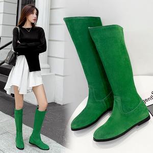 2019春秋黑色真皮平底女长靴绿色翻毛皮磨砂中筒靴平跟女靴子