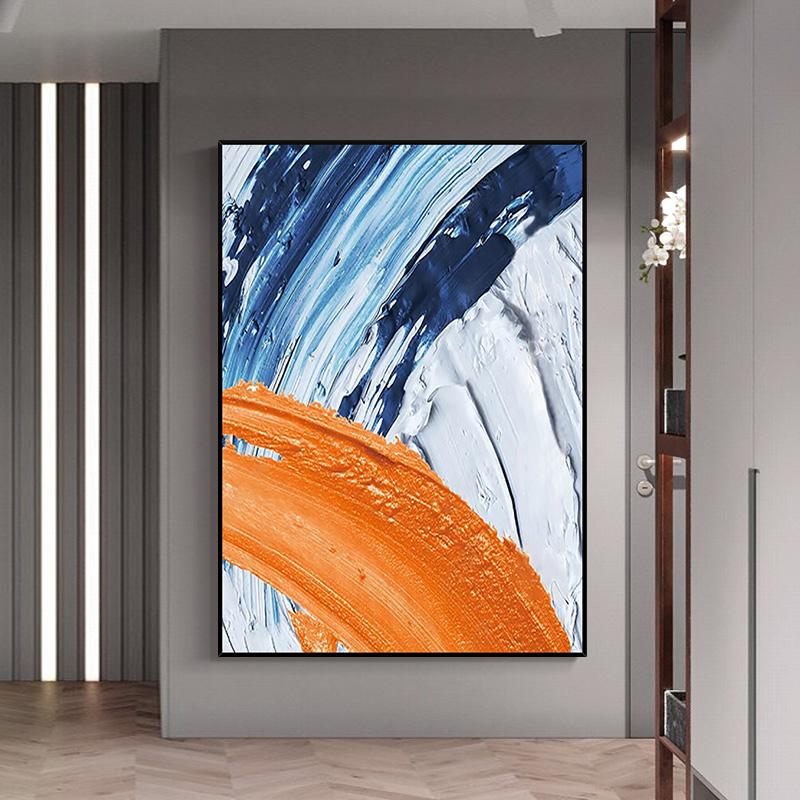 手繪油畫 現代簡約抽象色塊厚肌理立體裝飾畫 海浪涌起 玄關掛畫