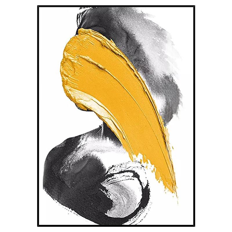玄關過道連廊掛畫 現代簡約抽象藝術裝飾畫 手繪油畫 黃色色塊