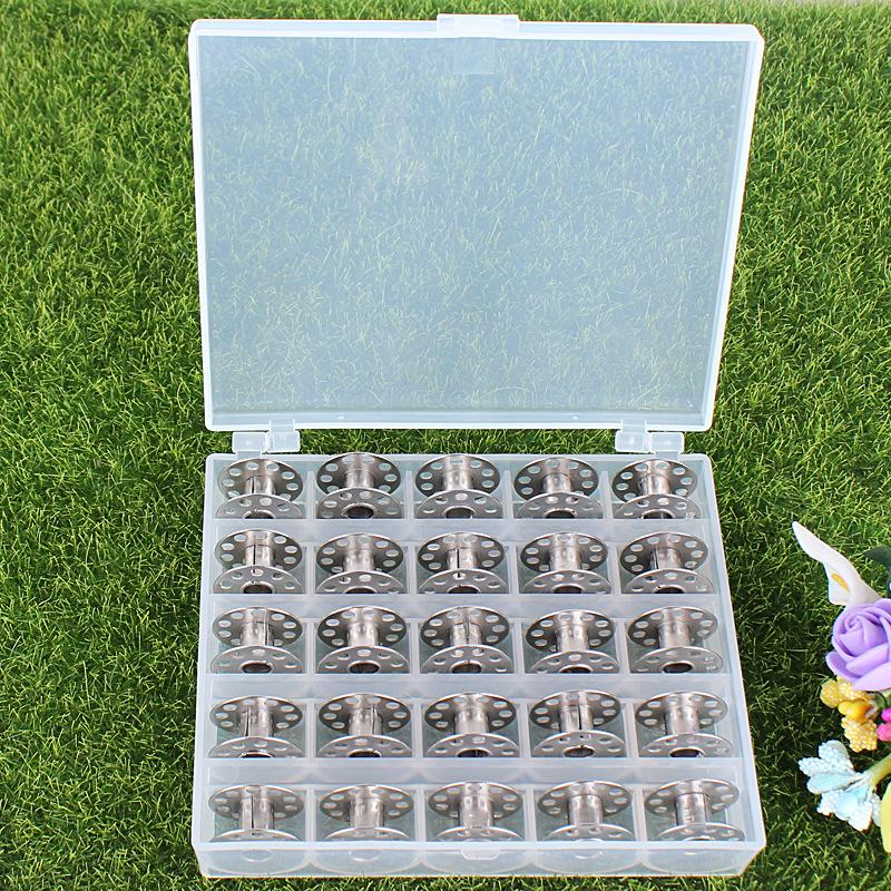 金属梭芯任选缝纫赠品 个彩色透明梭芯 25 格梭芯盒套装包含 25