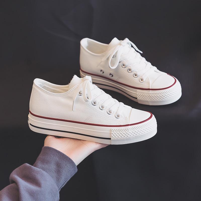 香港夏季薄款厚底帆布鞋女新款2021年春秋潮百搭内增高小白鞋子 No.2