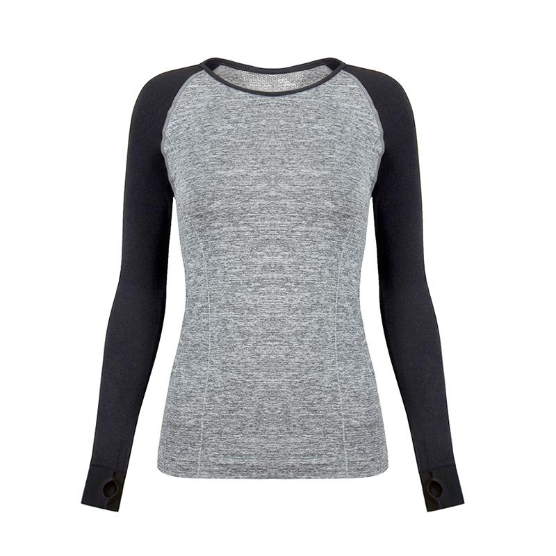 时尚运动T恤女健身长袖上衣圆领速干透气母子洞瑜伽房紧身上衣女
