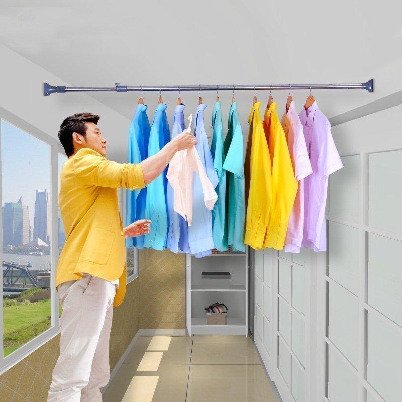 宝优妮浴帘杆免打孔伸缩杆晾衣杆浴室撑杆卫生间直杆型送浴帘套装