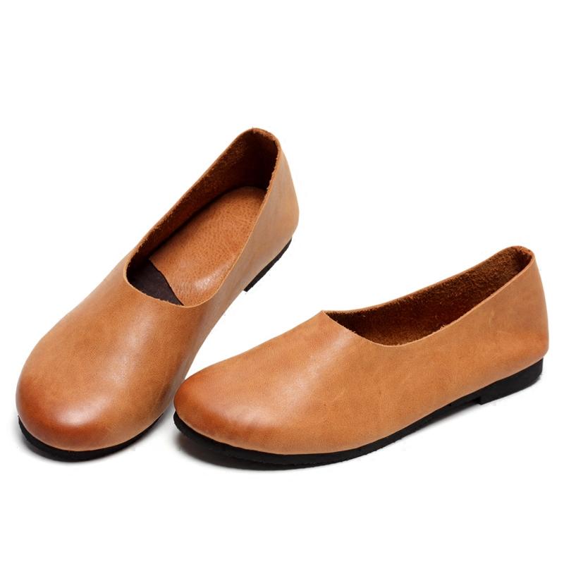 软皮女鞋圆头复古手工皮鞋单鞋女2019春款真皮平底鞋软底奶奶鞋女