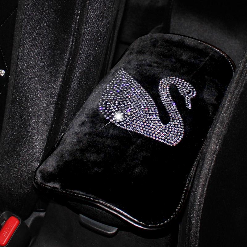 钻石毛绒天鹅扶手 豹头镶钻通用手扶套 皇冠钻饰汽车扶手箱垫