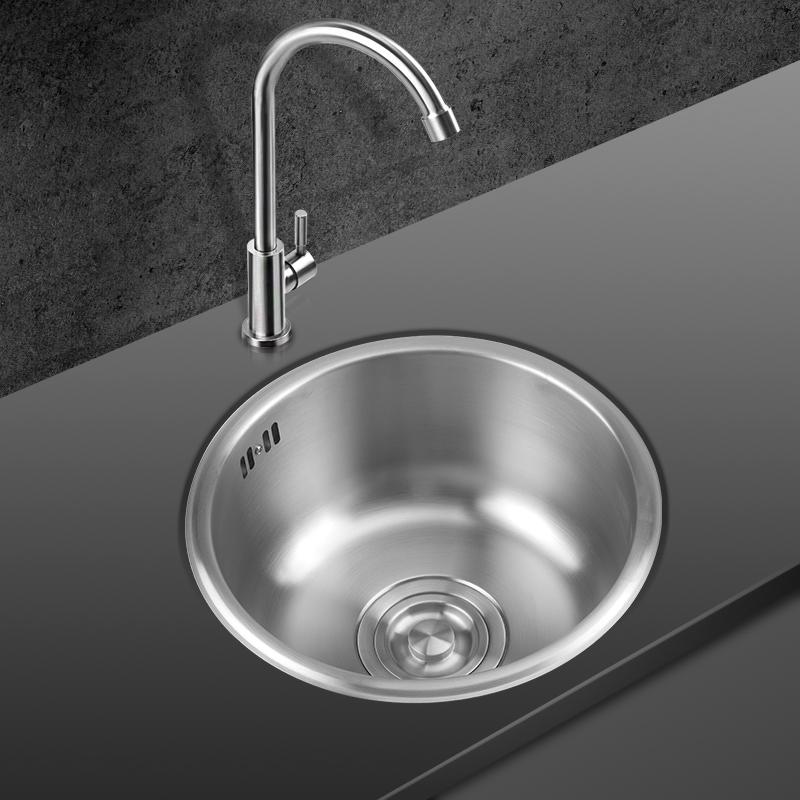 不锈钢吧台圆形小水槽单槽套餐加厚阳台厨房迷你小洗菜盆水池 304