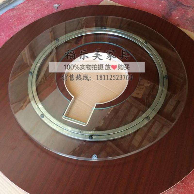煤气灶韩式玻璃转盘火锅圆桌空心钢化玻璃转盘燃气灶火锅玻璃开孔