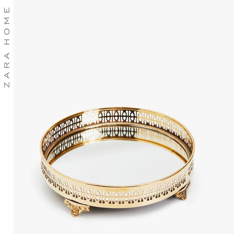 Zara Home 欧式金色圆形镜面托盘水果盘首饰收纳盘 44737043302