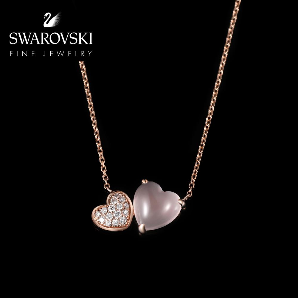 玫瑰金芙蓉石钻石项链女高级珠宝首饰 18K Throb Heart 施华洛世奇