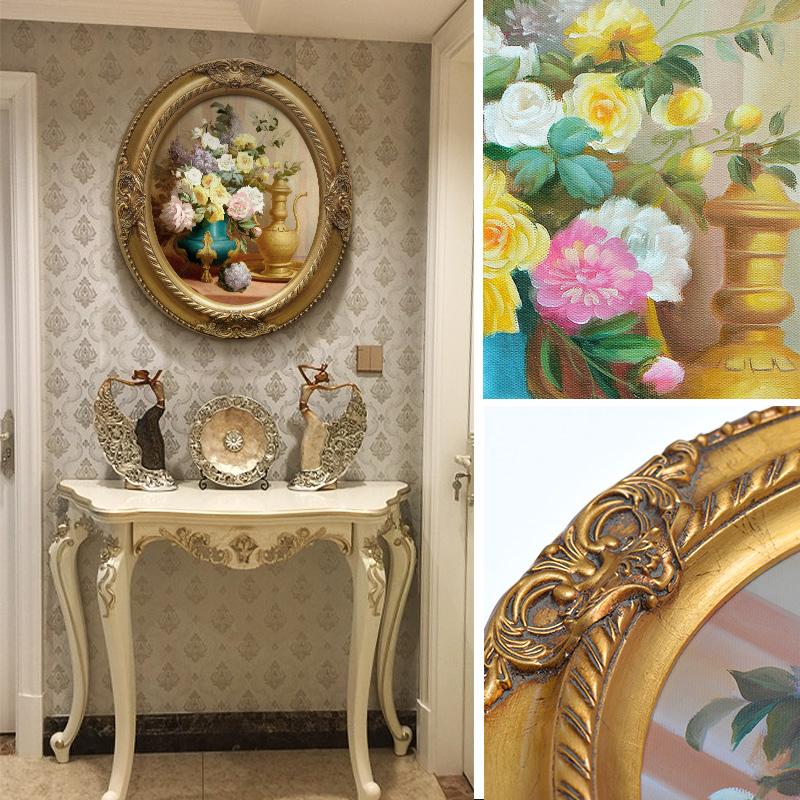 欧式古典花卉风景人物油画椭圆形框画餐厅卧室玄关装饰画有框挂画