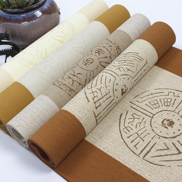 四尺对开五言七言瓦当对联蜡染粉彩半生熟毛笔书法作品宣纸批发