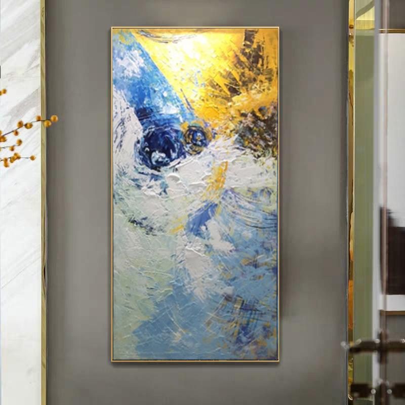 純手繪抽象油畫現代簡約北歐玄關裝飾畫豎版過道走廊趙無極掛畫