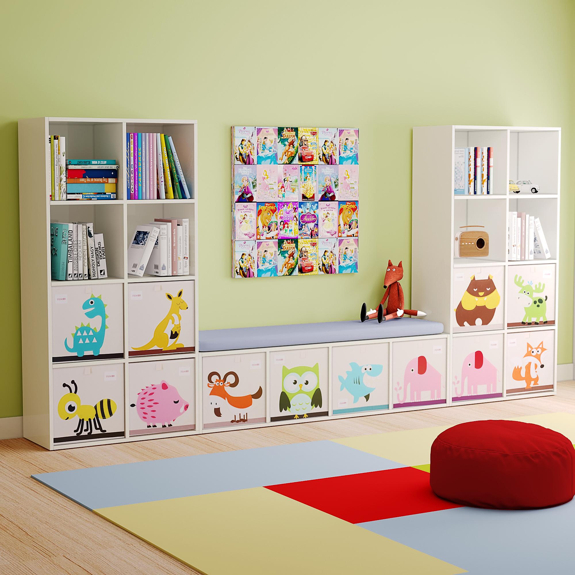 可比熊实木宝宝书架绘本架家用儿童收纳柜玩具收纳架幼儿组合柜子