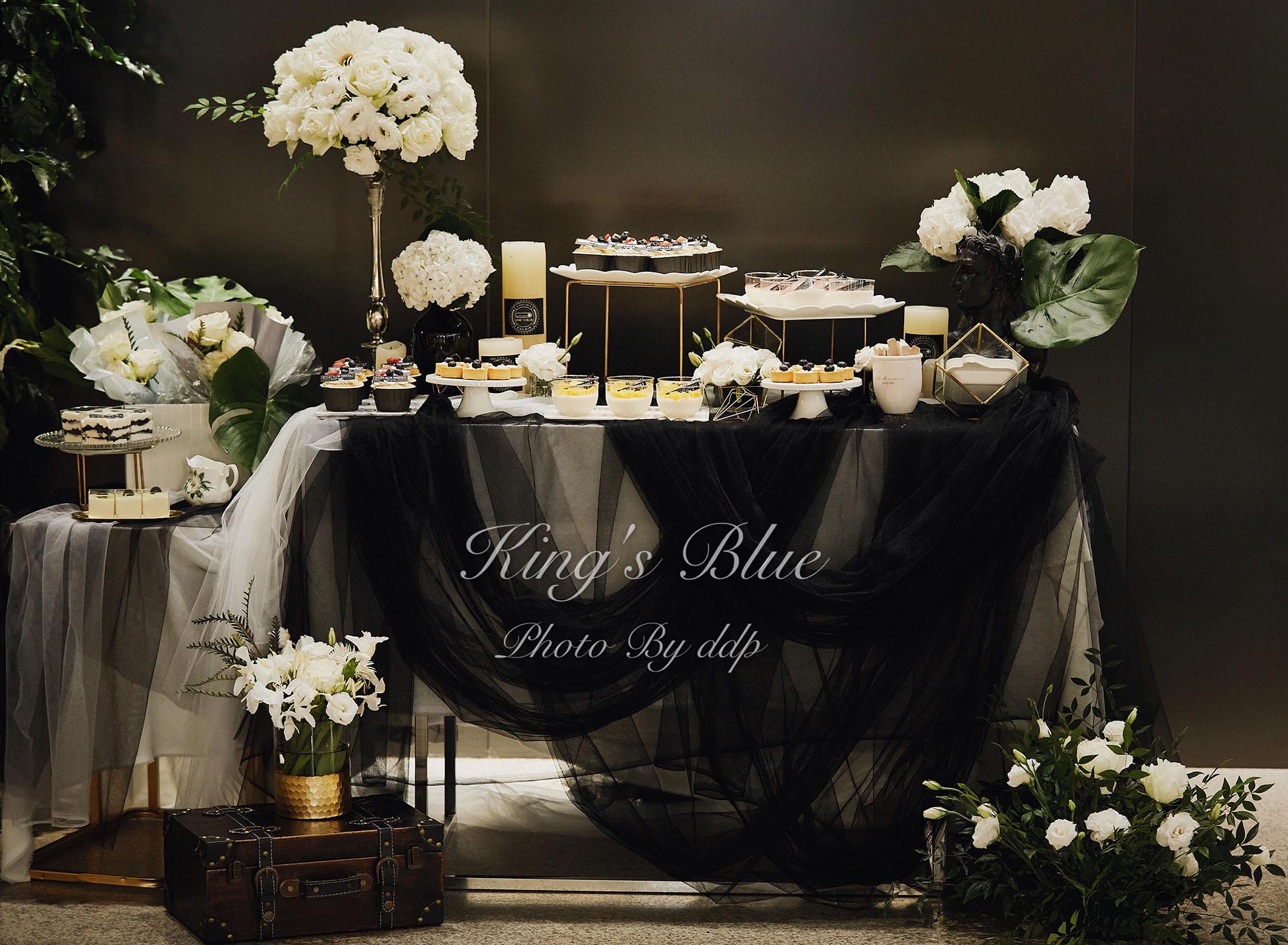 九眼桥 黑色系婚礼甜品台商务茶歇 钴蓝甜品]成都 Blue s ' King [