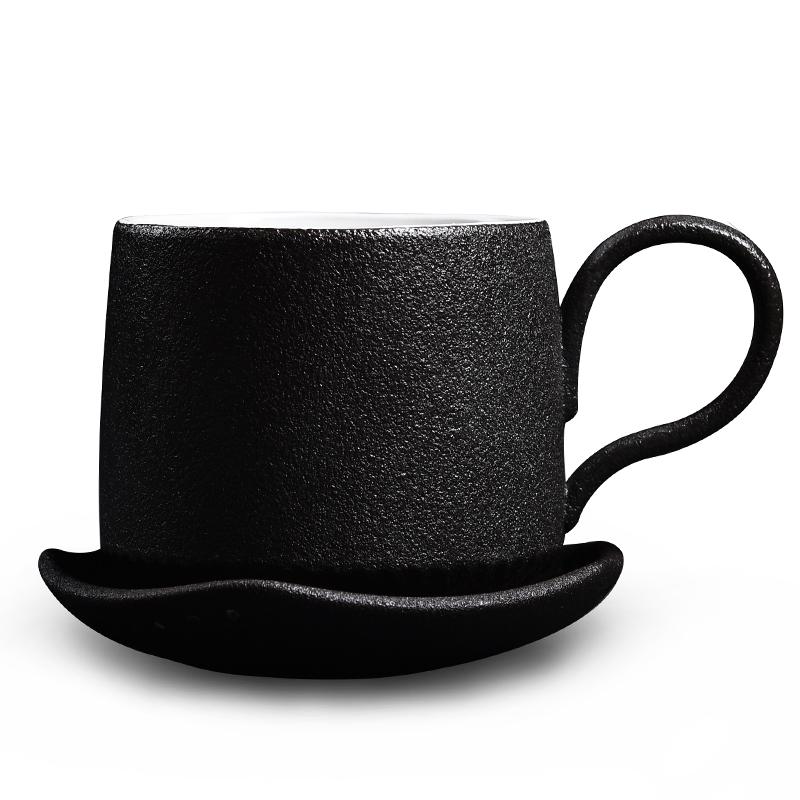 纯色带勺配碟陶瓷咖啡杯套具简约创意DIY办公室定制陶瓷刻字水杯