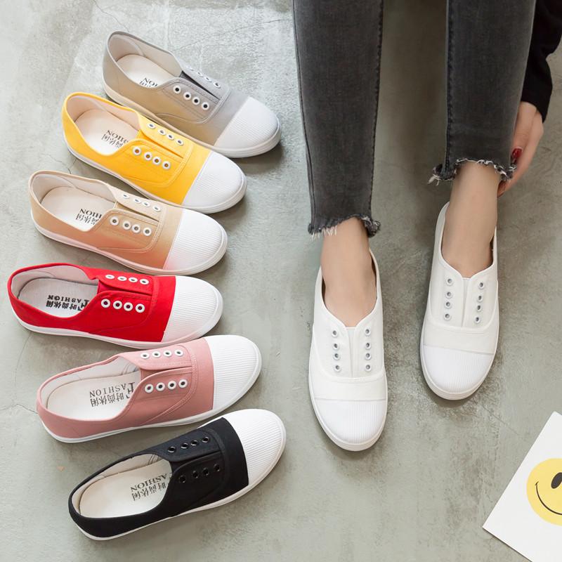 2020春季新款透氣帆布鞋女一腳蹬懶人鞋小白鞋學生韓版百搭休閑鞋