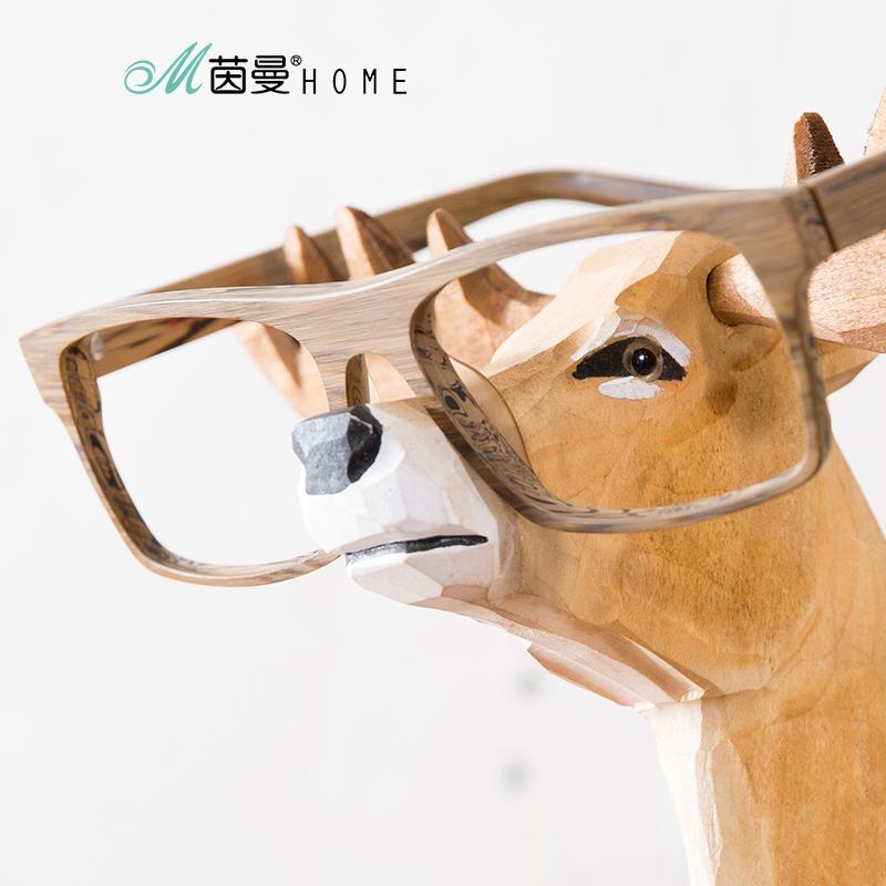 茵曼home 创意手工实木雕刻工艺品木雕摆件收纳支架鹿眼镜展示架