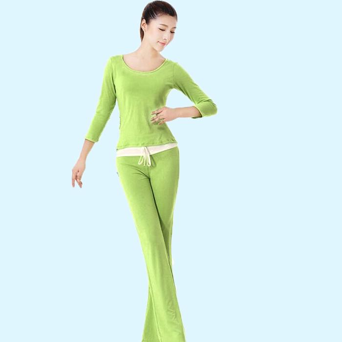 时尚秋冬季长袖瑜伽服套装女健身服愈加服女士显瘦上衣两件套特价