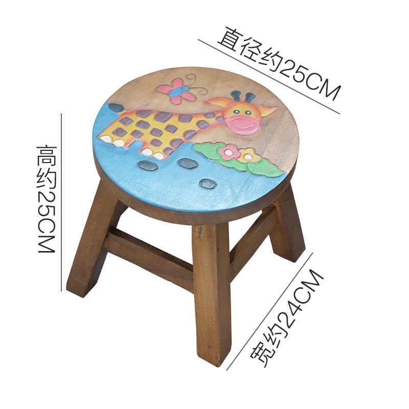 泰国儿童凳子实木可爱卡通动物小板凳家用时尚创意木头矮凳木凳
