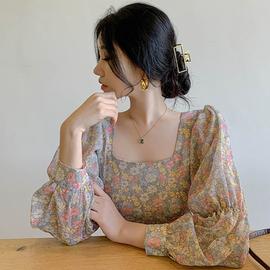 韩国chic温柔甜美小碎花显瘦方领漏锁骨宽松百搭灯笼袖衬衫上衣女