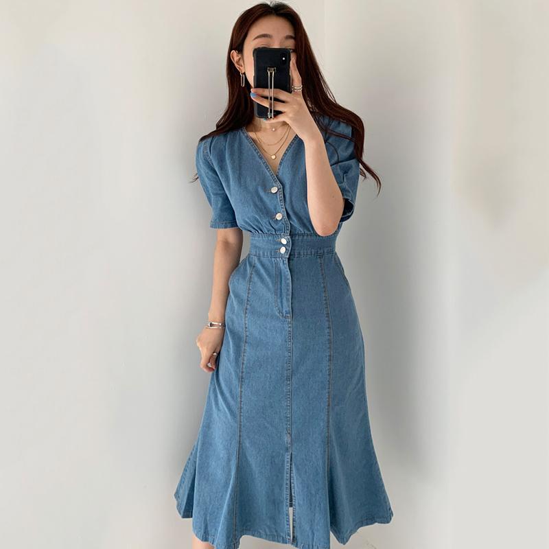 韩国chic复古气质V领显瘦单排扣修身中长款泡泡袖牛仔鱼尾连衣裙