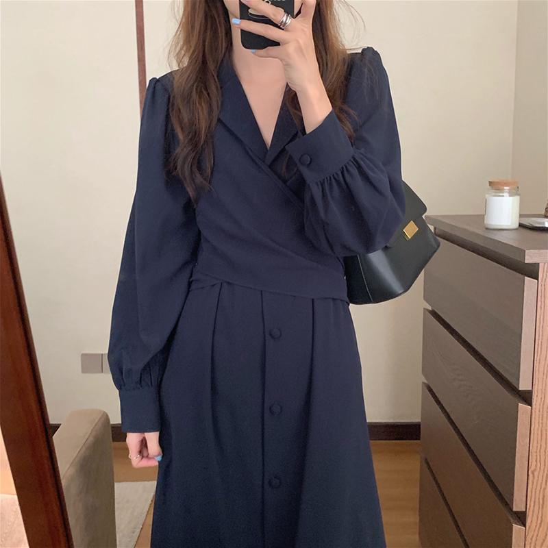 韩国chic秋季气质设计款西装领显瘦收腰系带扭结过膝长款连衣裙女