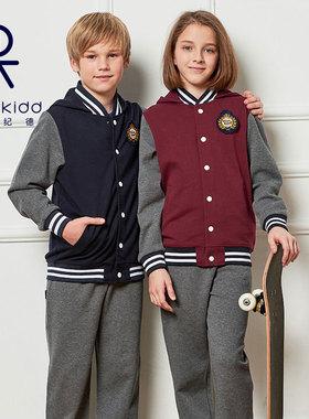 N伊顿纪德校服套装女童裤子小学生棒球服儿童春秋长裤男童运动服
