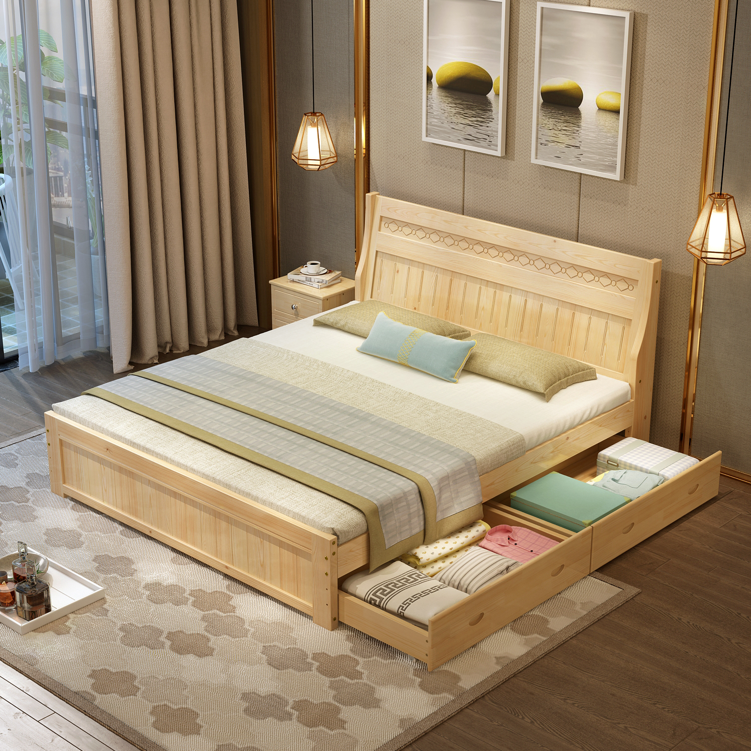 Solid Wood Bed Double Bed Pine Master Bedroom Storage Bed Modern Contracted 1 8m 1 5m Big Bed Sheet Person 1 2 Furniture