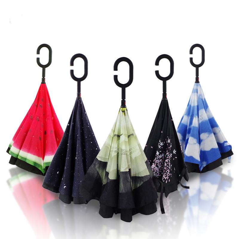 瑞恩貝拉雨傘反向傘雙層免手持車用雨傘晴雨兩用男女長柄雨傘自動