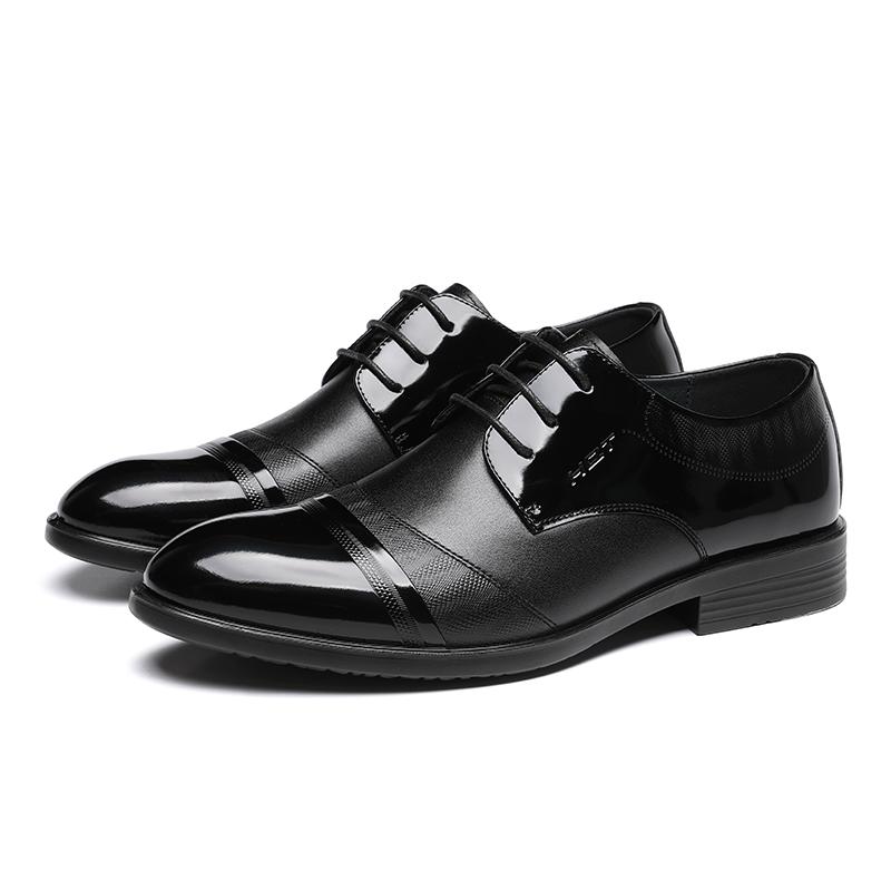 新款秋季牛皮鞋男士漆皮低帮男鞋系带 2019 红蜻蜓男皮鞋真皮正装鞋