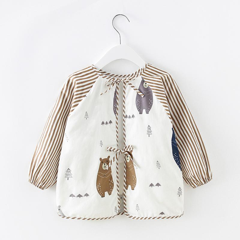宝宝婴儿吃饭罩衣围兜秋冬长袖防水防脏男童女孩儿童围裙棉反穿衣
